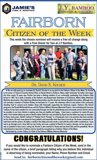 Dr. David S. Kocher - Citizen of the Week