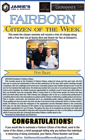 Pete Bales - Citizen of the Week