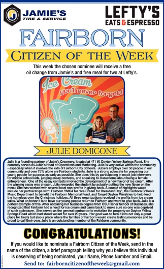 Julie Domicone - Citizen of the Week