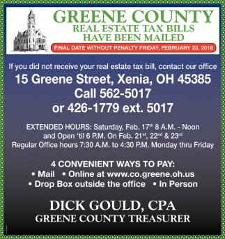 Greene Countyreal estate tax bills have been mailed