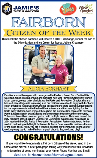 Alicia Eckhart - Citizen of the Week