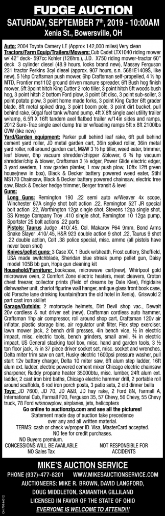 Fudge Auction September 7th