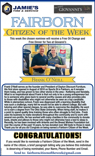 Frank O' Neill - Citizen of the Week