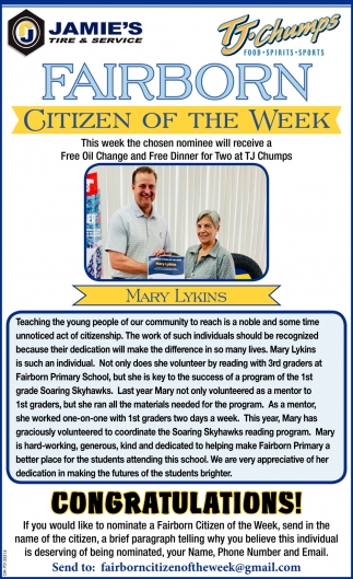 Mary Lykins - Citizen of the Week
