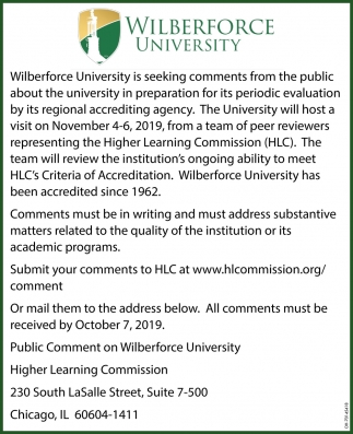 Seeking comments from the public about the university in preparation