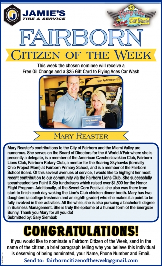 Mary Reaster - Citizen of the Week