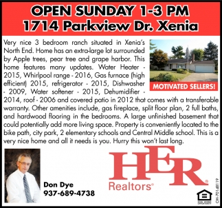 Open Dunday - 1714 Parkview Dt., Xenia