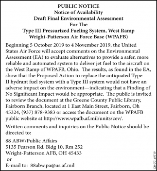 Notice of Availability - Draft Final Enviromental Assessment