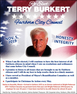 Re- Elect Terry Burkert - Fairborn City Council