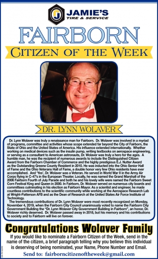 Citizen of the week - Dr. Lynn Wolaver