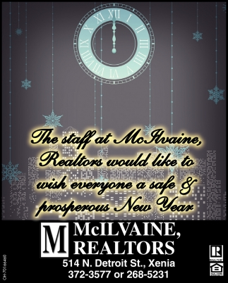 The staff at McIlvaine Realtors would like to wish everyone a safe & peosperous New Year