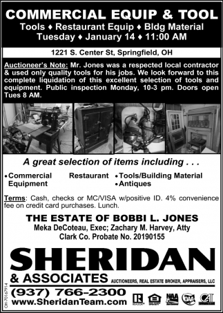 Commercial Equip & Tool auction - January 14