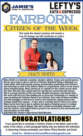 Citizen of the week - Macy Smith