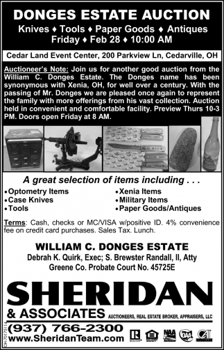 Donges Estate Auction - Feb 28