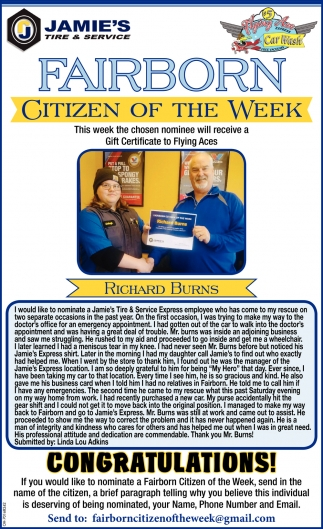Citizen of the week - Richard Burns