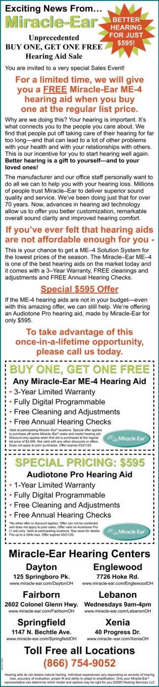 Better Hearing For Just $595!