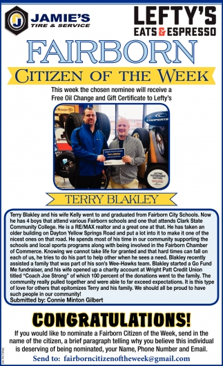 Citizen of the week - Terry Blakley
