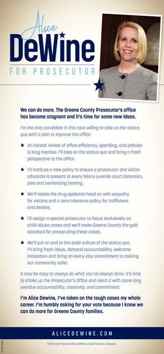 Alice DeWine, Republican Candidate for Greene County Prosecutor
