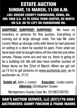 Estate Auction - 15 March