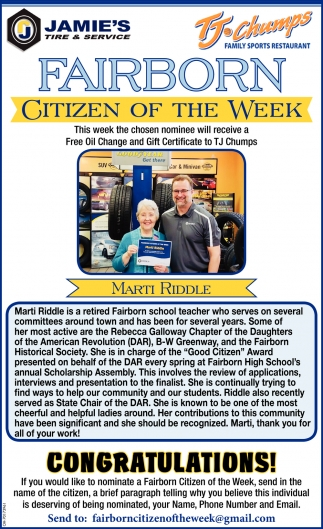 Citizen of the week - Marti Riddle