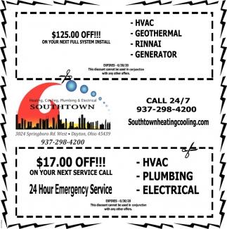 Heating, Cooling, Plumbing  Electrical