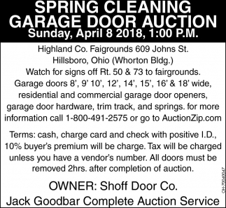Spring Cleaning Garage Door Auction