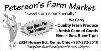 Sweet Corn is our Specialty