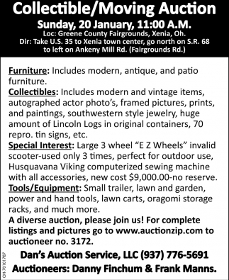 Collectible / Moving Auction