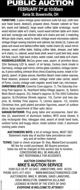 Public Auction - Febrero 2nd