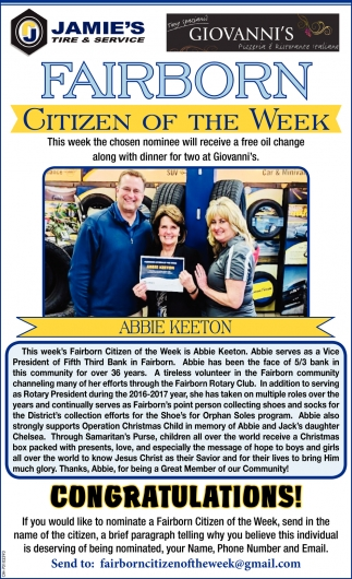 Abbie Keeton - Citizen of the week