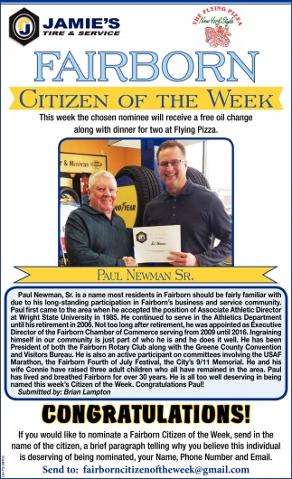 Paul Newman Sr. - Citizen of the Week
