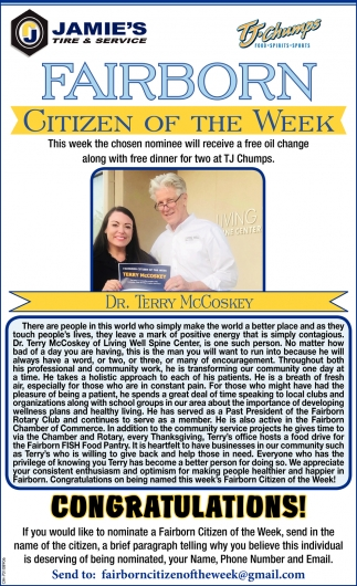 Terry McCoskey. - Citizen of the Week