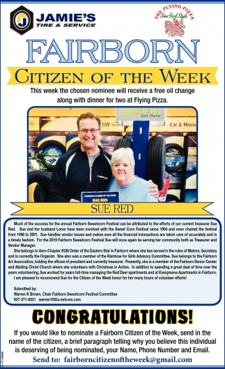 Sue Red - Citizen of the Week