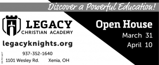 Open House March 31, April 10