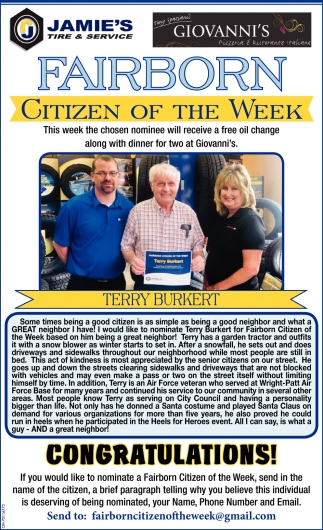 Terry Burkert - Citizen of the Week