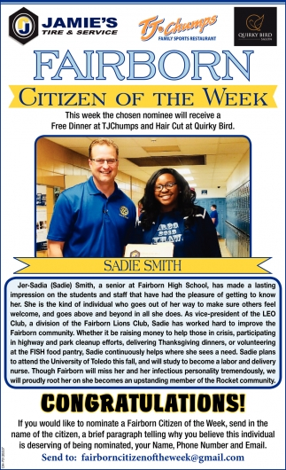 Sadie Smith - Citizen of the Week